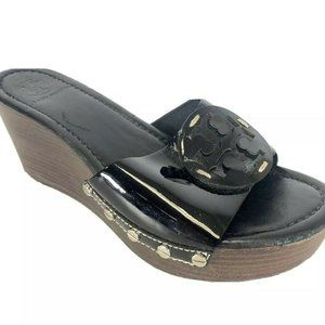 Tory Burch Black Wedge Sandals Womens Size 9.5